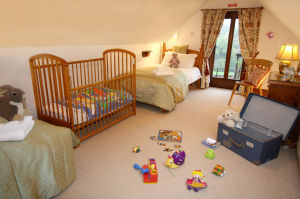Twin bedroom, great for children.